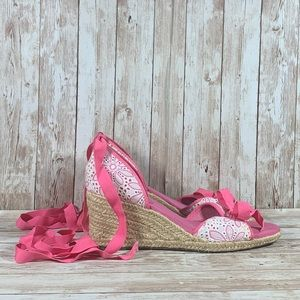 Lilly Pulitzer Embroidered Flowers Espadrille Sandal Wedges Women's Sz 8.5